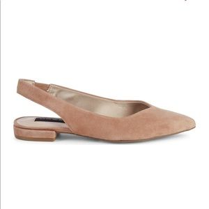 Sand suede swing back flats